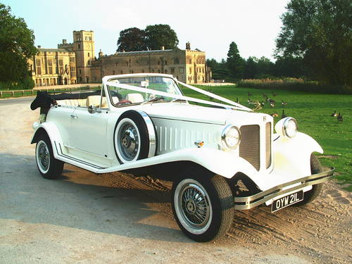 White 1930's Style Beauford Wedding Car